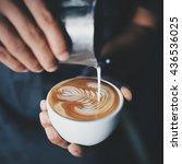 how to  make coffee latte art... | Shutterstock . vector #436536025