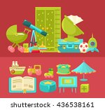 kids room interior and interior ... | Shutterstock .eps vector #436538161