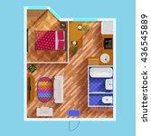 colorful floor plan of... | Shutterstock .eps vector #436545889