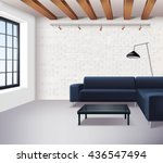 realistic loft interior concept ... | Shutterstock .eps vector #436547494