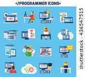 programmer flat color... | Shutterstock .eps vector #436547515