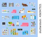baby room furniture flat... | Shutterstock .eps vector #436547521