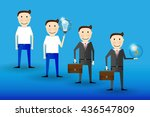 cartoon businessman poses in... | Shutterstock .eps vector #436547809