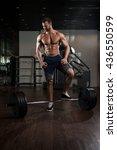 young bodybuilder doing heavy... | Shutterstock . vector #436550599