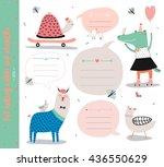 set of birthday cards  gift... | Shutterstock .eps vector #436550629