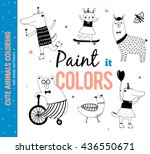 Stock vector set of funny and cute animals coloring for kids vector isolated white background hand drawn 436550671