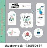 set of birthday cards  gift... | Shutterstock .eps vector #436550689