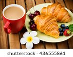 cup of coffee and croissants on ... | Shutterstock . vector #436555861