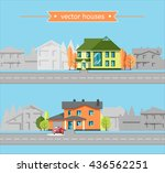 colorful flat vector houses on... | Shutterstock .eps vector #436562251