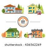 set of flat vector houses on... | Shutterstock .eps vector #436562269