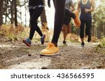 legs and shoes of four young... | Shutterstock . vector #436566595