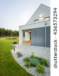 image of new villa with wide... | Shutterstock . vector #436573294