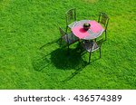 iron garden table and chairs on ... | Shutterstock . vector #436574389