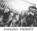 multiethnic group people... | Shutterstock . vector #436580575