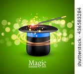 magic hat with magic wand.... | Shutterstock .eps vector #436583284
