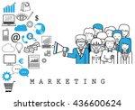 marketing team on white... | Shutterstock .eps vector #436600624