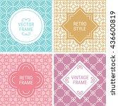 set of vintage frames in cyan ... | Shutterstock .eps vector #436600819