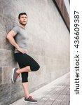 urban fitness man looking aside ... | Shutterstock . vector #436609387