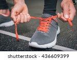 running footwear close up. gym... | Shutterstock . vector #436609399