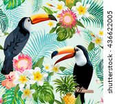 tropical flowers and toucan... | Shutterstock .eps vector #436622005
