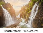 Waterfall In Mountain Forest...