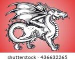 big fantasy dragon black... | Shutterstock .eps vector #436632265