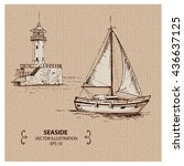 lighthouse and the boat  hand... | Shutterstock .eps vector #436637125