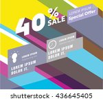 sale banner. super sale and... | Shutterstock .eps vector #436645405