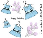 birthday. dress on a hanger and ... | Shutterstock .eps vector #436649161