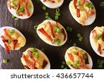 Bacon Deviled Eggs On Black...