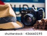 Постер, плакат: retro camera panama hat