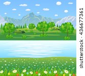 summer landscape with meadows... | Shutterstock . vector #436677361