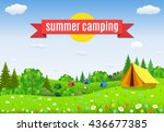 tourist tent and green meadow... | Shutterstock . vector #436677385