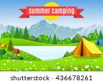 flat illustration camping. | Shutterstock . vector #436678261