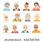 old people icons set. face of... | Shutterstock . vector #436700764