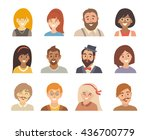 people icon set. happy man and... | Shutterstock . vector #436700779