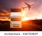 container truck and freight... | Shutterstock . vector #436703839