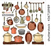 many pans hanging in a rustic... | Shutterstock .eps vector #436718989
