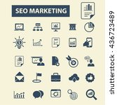 seo marketing icons | Shutterstock .eps vector #436723489