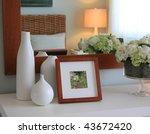 picture frame and flowers on a... | Shutterstock . vector #43672420