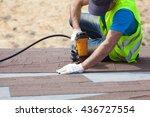 roofer builder worker with...   Shutterstock . vector #436727554