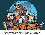 retro astronauts family dad mom ...   Shutterstock .eps vector #436736875