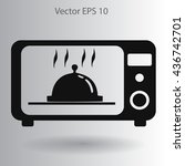 cooking in a microwave oven... | Shutterstock .eps vector #436742701