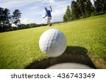 ball rolling into the hole | Shutterstock . vector #436743349