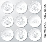 set of vector monochrome icons. ... | Shutterstock .eps vector #436743805
