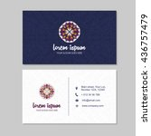 Flat Style Visiting Card And Business Set With Mandala Pattern Simple Logo Abstract Oriental Design