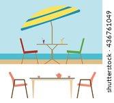 summer beach furniture flat... | Shutterstock .eps vector #436761049