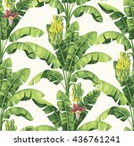 seamless tropical pattern with... | Shutterstock .eps vector #436761241