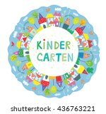 frame for kindegarten banner... | Shutterstock .eps vector #436763221