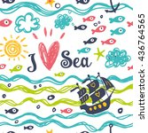 Stock vector i love the sea summer and cheerful background with fish and boat 436764565